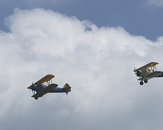 a fly over of bi-planes accompanied the - the MVPA 2009 Transcontinental Motor Convoy arrives in East Palestine  Monday afternoon - robertkyosay