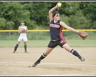 6.16.2009 Struther's Ellen Becker (18) pitches at Candlelite Knolls in Bazetta Ohio on Tuesday afternoon. Photo by: Geoffrey Hauschild