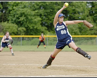 6.16.2009 JFK's Rachel Pico (88) pitches at Candlelite Knolls in Bazetta Ohio on Tuesday afternoon. Photo by: Geoffrey Hauschild