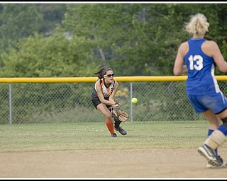 6.16.2009 Southington's Brittany Nieves makes a catch at Candlelite Knolls in Bazetta Ohio on Tuesday afternoon. Photo by: Geoffrey Hauschild