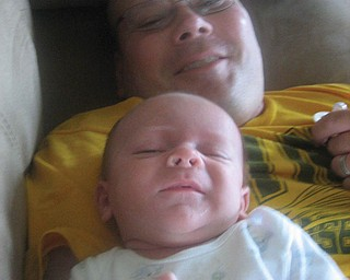 Brian Silvers, 42, and Andrew, 2 months, of New Castle, Pa.