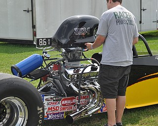 J.P. Schuster of Demascus gets his car ready to race at the Steel Valley Super Nationals Friday.