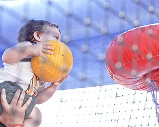 Colton Huff (21 mths) of Cortland gets a lift from mom, Julie Posey of Cortland, inside an inflatable slide/play area at the Mahoning Valley Rib Burnoff Saturday June 27, 2009