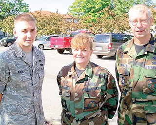 From left: Staff Sgt. Kyle Knox of Columbus; Master Sgt. Karen Satterfield; and Tech. Sgt. Bill Manley