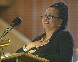 Youngstown School Supterintendent Dr. Wendy Webb speaks during funeral of Edna Pincham Wednesday at Third Baptist Church in Youngstown.