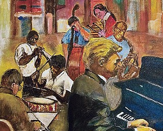 """MUSIC SCENE: Musicians jamming is the subject of this painting by Micklas, 83, of Liberty. """"I paint what strikes me ... that's where I get the ideas,"""" said the artist, who noted he has created some 60 paintings."""