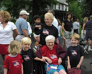 This was taken at Canfield's Fourth of July parade in 2006. Included are Loretta Houk with her daughter, Barb Donaldson; her granddaughter, Jacque Goodwin; great-grandsons, Keegan and Oscar Goodwin and Troy Jacobs; and great-great-granddaughter, Ciara Goodwin.