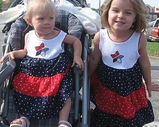 Emma Vondran, 4, and her 18-month-old sister, Lily, celebrate the Fourth of July. They are the daughters of Brian and Erin Vondran of Boardman.