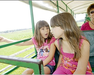 7.5.2009 Gianna Socciarelli, 7 of Canfield, and Hanna Medved, 9 of Vienna, notice a groundhog in the field alongside a tractor ride at Mill Creek MetroParks' Farm in Canfield on Sunday afternoon. Geoffrey Hauschild