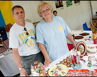 7.11.2009Slofko Terlecky, of Boardman, and Ann Blazinia, of Girard, at the booth presented by Holy Trinity Ukranian Catholic Church (On Rayen) on YSU's campus during the art festival on Saturday afternoon.Geoffrey Hauschild