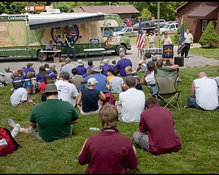 """7.16.2009 Scouts at Camp Stambaugh, on Thursday afternoon, are introduced to the 100 year commemorative mural, """"A Century of Values"""" traveling to all Scout Camps across the country. Geoffrey Hauschild"""