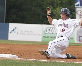 Mahoning Valley Scrappers Kyle Smith (2) slides into 3rd base during the third inning vs Oneonta Tigers at Eastwood Field, Sunday July 19, 2009 Lisa-Ann Ishihara