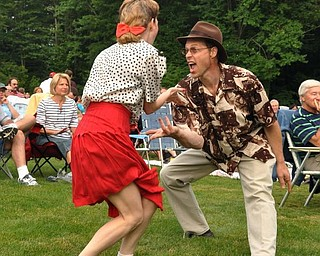 Duane and Lisa Pitzer dance to Big Bad Voodoo Daddy.