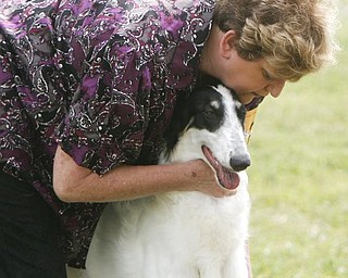 Edna Hadley competes for the BEST IN SHOW with her dog  ZOEY a Borzoi - Edna is from Youngstown - -as the four day Steel Valley Cluster Dog Show at the Canfield Fairgrounds runs through Sunday - robertkyosay
