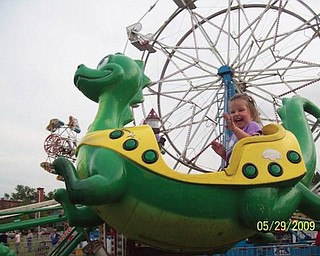 Mikayla Upright, 3, of Boardman is pictured at a festival in Westfield, Mass.