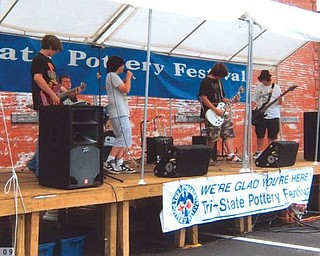 Performing at the East Liverpool Pottery Fesitval on June 19 were high school students, from left, Tony Wade, Garrett Lyle, Zack Taylor, Wayne Wells and Kyle Wade.