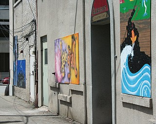 Murals hang on the backs of businesses at David Grohl Alley in Warren.