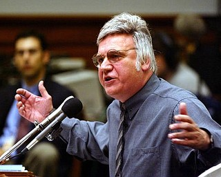 Rep. James Traficant, D-Ohio, testifies on Capitol Hill in Washington, Monday, July 15, 2002 before the House Ethics Committee. Traficant on Monday told a House ethics panel considering whether he should be expelled from the House that the Justice Department has targeted him for years and forced a jury to convict him of fraud, bribery and tax evasion.