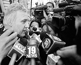 Congressman James A. Traficant leaves the federal courthouse in Cleveland following the reading of his verdict.  Guilty on all 10 counts was the decision made by the 12 jurors after a ten week trail and 24 hours of deliberation.