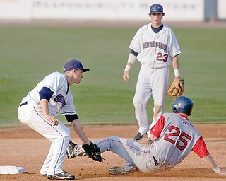 8.16.2009Mahoning Valley Scrapper, Kyle Bellows, tags Lowell Spinners' Ryan Westmoreland, as he slides into second base during the top of the seventh inning at Eastwood Field on Sunday afternoon. Unfortunately, Westmoreland was called safe resulting in words of condemnation from the crowd.Geoffrey Hauschild