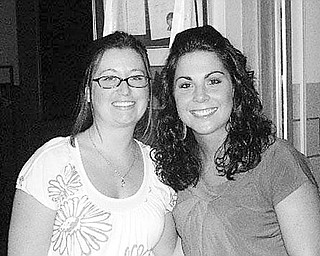 Special to The Vindicator SPEAKING OUT: The featured speakers at the Aug. 11 meeting of Struthers Rotary were, from left, Melissa Bennet and Kristy Marapese from Mahoning County Children's Services. They presented information on their work with the Children's Services. Both are former recipients of Rotary scholarships.