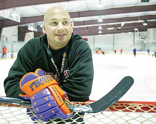 Phantoms coach Bob Mainhardt during a recent practice at the Ice Zone in Boardman.
