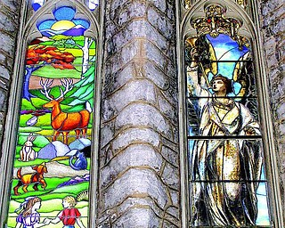 Right pane is a Tiffany window installed circa 1900. Dedicated in memory of James Lawrence Botsford (1834-1898)