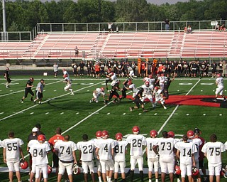 Girard warming up for the scrimmage against Akron Manchester