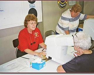 Special to The Vindicator WELL-TESTED: Members of Lions Clubs from District 13-D conducted free eye screenings and tests for 943 people during the Canfield Fair. There were 85 Lions from 11 area clubs who volunteered to provide the services at the medical building. They tested visitors for glaucoma and peripheral vision and used eye charts to evaluate symptoms of vision loss. The screenings were up 20 percent from last year, and 37 percent of those tested showed signs of possible eye problems. One of the volunteers, Canfield Lion Ruth Ann Cannell, is shown as she provided the peripheral vision test for an area resident. The testings were coordinated by Lions Past District Governor Ted Filmer of Canfield Lions Club.