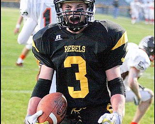 CRESTVIEW - EAST PALESTINE - (3) Adam Coppock celibrates his first quarter touch down Friday night. - Special to The Vindicator/Nick Mays