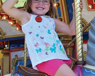 Four-year-old Maggie McGlone of Boardman is a granddaughter of Pete Gabriel.