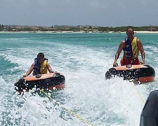 Father and son, Ron and AJ Iarussi of Struthers, went tubing in Aruba.