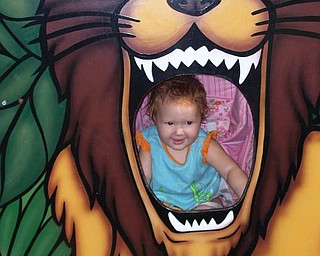 Chelsea Campbell, 11 months, of Youngstown, made her first trip to the zoo.