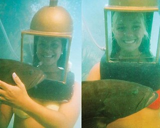Sommer Fasulo, left, and Corrie Romesburg took time out to do some helmet diving to swim with the groupers during their recent trip to Bermuda in July for Sommer's wedding to Spencer Conway. Sommer is a granddaughter of Doris Jean Chianello of Coitsville and a great-niece of Darlene Romesburg of Struthers. Corrie is a freshman at Youngstown State University.