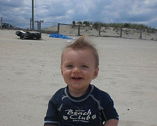 This is Connor Jeremy Lester, 7 months, on his first trip to the beach at Seaside Heights, N.J. He is the son of Jarid and Nicole Lester of Canfield.