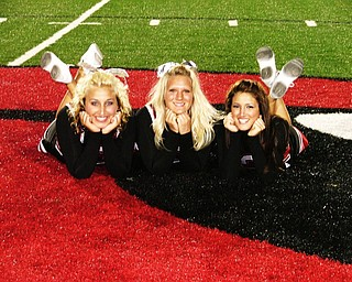 Morgan Baker, Chelsey Baltes, and Elizabeth Cerimele are best friends and varsity football cheerleaders for Canfield High School. This was taken after celebrating their win against their Lakeview scrimmage.