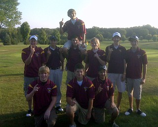 """""""Members of the South Range Golf Team celebrate Aaron Seidler's (on shoulder) hole-in-one on the par 3 at Eagle's Pass against United. Members are from Left Standing: Matt Rhodes, Ethan Parks, Mike Thorpe, Tyler Rach, Brandon Pluchinsky, Brennan Allen. Kneeling: Hogan Russell, Brad Phillips, Mark Stewart.  South Range Golf Team were named 2009 ITCL Champions for the 3rd year in a row!"""""""