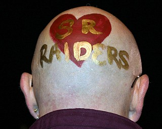 """""""South Range Band Booster Officer Mr. Dieger show his Raider spirit. The painting is done by the flagline members."""""""