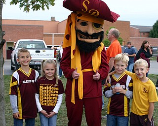 """""""Little Raiders cheerleaders and friends are ready to cheer on the South Range team."""""""