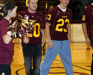 """James Nell and Matt Gaston help to ""Fire UP"" the students at a recent