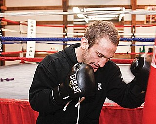 READY FOR A FIGHT: Billy Lyell works out at Burnside Boxing Club on Wednesday. Lyell will fight Chris Gray at Eastwood Expo Center on Saturday night.