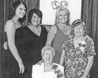 Special to The Vindicator FIVE GENERATIONS: It was not only the 100th birthday of Clara Leone, seated, but also the 17th birthday of her great-great granddaughter, Lauren Newton, at left, that was celebrated during a party on Sept. 27. Joining the honorees for a five-generation picture are, from left, Deena Newton (Lauren's mother); Mary Brincko (Deena's mother); and Josephine Nave (Mary's mother, and Mrs. Leone's eldest child).