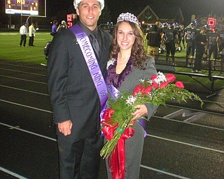 """Here is a picture that can hopefully be put in this week's blitz """"fan-tastic"""" back page.  Provided Caption: Gina Serluco, graduate of Boardman High School, was crowned 2009 Homecoming Queen at Mount Union College."""