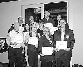 """Special to The Vindicator HONORED: Members of the Rotary Club of Austintown who have achieved perfect attendance records during the first quarter of the year were honored at the club's meeting on Oct. 19 at the Saxon Club on Meridian Road. Displaying their attendance certificates are, from left, bottom row, Tony Cebriak, Rachel Solida, Robin Stock and Brian Laraway, club president; middle row, Deanna Spirko and Hillary Prestridge; and top row, Chuck Baker, Gary Reel, Brian Frederick and Dr. Mitch Dalvin. """"Why Diets Don't Work"""" was the theme of Butch Temnick, who spoke at the meeting and encouraged members to get their weight and blood pressure under control by eating healthful foods."""