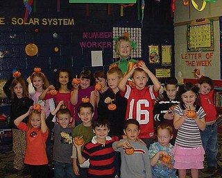 The Green Team provided pumpkins to paint for students in Mrs. Sheehan's kindergarten class at Springfield Elementary School.