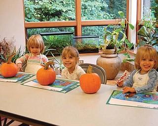 Getting ready to paint a pumpkin at the Davis Center in Mill Creek Park last October are Lindsay Jones, 3; Samantha Jones, 4; Allison Jones 3.