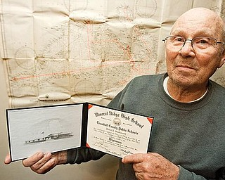BELATED HONOR: Robert Shuttleworth, 80, is a Navy veteran. he was recently awarded an honorary high school diploma by Weathersfield schools, where he attended until he joined the Navy at age 16.