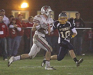 MCDONALD - (10) Justin Rota lines up (10) Miles Chapman Saturday night. - Special to The Vindicator/Nick Mays
