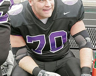 PURPLE RAIDER: Mount Union's Caleb Crowl, a Lisbon High graduate, watches during last Saturday's playoff win in Alliance.