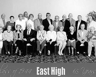 Special to The Vindicator 65 YEARS AGO ... East High School Class of 1944 gathered for its 65th reunion Sept. 4 at Mr. Anthony's in Boardman. Those who attended are, left to right in the first row: Josephine LoSasso Romandetti, Norma Walsh Stopnick, Irene Horvath Gianfrancesco, Robert Eusanio, Katherin Bebac Kwa Sekula, Joan Murray Kidd, Marion McKeon McDermott, Ursla Ceremile Conte, Vincent Nardy, and Ann Delfino Ozenghar. In the second row are Robert Hessman, Margaret Bailey Whitacre, Bridget Cucciare Ivko, Edward Sekula, Mary Ferranti Timlin, Joseph Donofrio, Anthony Orsinelli, Philip Nespeca, John Sandy, Mario Rubbo, Leonard Sainato, and Sam Fasline.